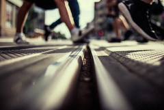 snooker (ewitsoe) Tags: ewitsoe nikond80 lowdof street urban poznan poland feet blurred lowfocus rail tram train cityscape polska europe sneakers