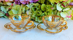 Antique German Josephinenhutte Glass Cups & Saucers ~ Gold Encrusted (Donna's Collectables) Tags: antique german josephinenhutte glass ~ gold thanksgiving christmas