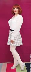 White Tights 1 (eileen_cd) Tags: whitetights miniskirt highheels polkadot whiteblouse redhead crossdresser transvestite cd tv