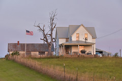 Kansas Farm Home at Sunrise (thefisch1) Tags: farm home prairie kansas farming land flag driveway sky fence equipment enterprise free work hard values ethics reality