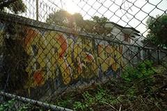Brushack - Ekkamai Bangkok (jcbkk1956) Tags: ekkamai thailand bangkok fence wall graffiti dusk sunset nikon d70s nikkor 1870mmf3545 wasteground street gloom worldtrekker contrejour