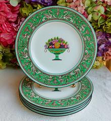 Wedgwood Porcelain Dinner Plates Green Florentine Fruit Basket Dragons (Donna's Collectables) Tags: wedgwood porcelain dinner plates green florentine fruit basket dragons