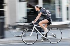 Specialized White (Dan Dewan) Tags: centretown dandewan bicycle canon7dmarkii canonef70200mm14lisusm street tuesday canon september colour summer girl  bankstreet portrait motion woman photographist ontario ottawa panning lady bike 2016