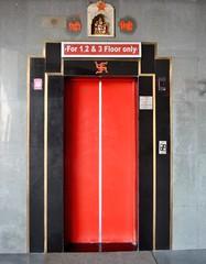 Swastikas on lift, Jaipur, India (CultureWise) Tags: india swastika symbols