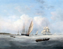 IMG_7599 John Clay. 1800-1860. A brig at anchor and other shipping in Pegwell Bay. Un brick  l'ancre et autres bateaux dans Pegwell BayHamburg. Muse International de la Marine. (jean louis mazieres) Tags: peintres peintures painting muse museum museo allemagne deutschland germany hambourg museinternationaldelamarine internationalmaritimmuseum johnclay