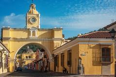 Santa Catalina Arch- Antigua, Guatemala (danielacon15) Tags: santa catalina arch colonial spanish architecture travel traveldestination antigua guatemala outdoors cobblestone yellow colorful old street 17th century clock tower