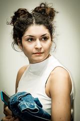 Girl with two knots (Hans Dethmers) Tags: flickr girl candid meisje knotjes knots portrait portret color hansdethmers fuji