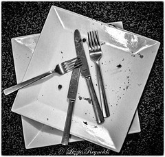 Day 282, 2016, a photo a day (lizzieisdizzy) Tags: whiteandblack plates ceramic square dinner lunch flat dish plate crockery knife knives fork forks crumbs pea reflections reflection shiny stainless steel food eating eat