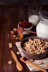 Healthy breakfast - cereal rings in a bowl with milk (lyule4ik) Tags: breakfast cereal snack health milk white bowl rings background closeup corn delicious eat food healthy macro meal morning nobody sweet table wooden balanced brown calories chocolate cocoa crunchy diet fabric grain hoop lifestyle napkin natural nature ring spoon vitamin wheat whole wood tablecloth vegetarian cold view cloth beverage european drink