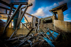 Top of the ruin. (yeahwotever) Tags: apocalypse graffiti abandoned bunker concrete disused early lime mess oregon silo states structure sunrise tag tower usa