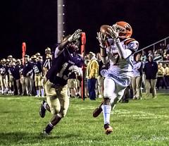 High school football: touchdown pass (rikki480) Tags: offense play wide receiver pass catch touchdown defensive back highschool football game outdoor sport bishop dwenger northrop fortwayne indiana zollner field stadium
