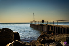 Retirement (MrPhoenix88) Tags: life old blue sky lake toronto canada man water phoenix yellow sunrise landscape person golden dock alone random stranger clear thoughts age shore experience wisdom mississauga emotions solitary depth lessons otherside