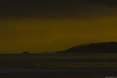 Ship at night (Roger-K10D(mostly off)) Tags: winter sunset sea sky mountains nature water night boat pentax aficionados pentaxart