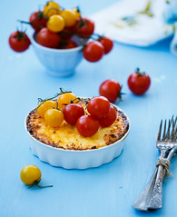 Quiche with cheese and cherry tomatos (Julicious) Tags: blue light red food yellow cheese breakfast canon tomato cherry crust yummy vegetable casserole fresh homemade veggie quiche foodphoto foodphotography foodstyle canon5dmarkiii