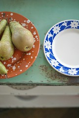 pears & plates (wood & wool stool) Tags: food kitchen fruit plates sissyboyhomeland woodwordsign lammieverkoopt