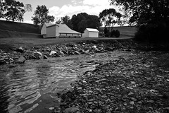 Cross Mill Stream (Ryan Kidd Photography) Tags: lighting blackandwhite white black mill nature contrast landscape stream cross farm