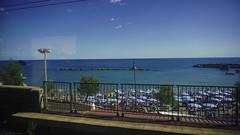 Adieu (nikearcidiacono) Tags: monterosso liguria italia 2016 landscape paesaggio train treno view scorcio glimpse sea seaside beach italy sky italian riviera ligure monterossoalmare cinqueterre five lands