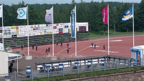 Finnish baseball (pesäpallo) practice
