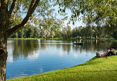 Rest in the Victory Park (alexxspb) Tags: park trees sky water reflection summer grass boats  rest green pond       victory