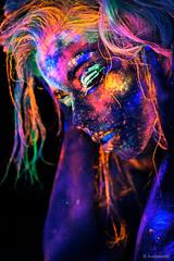 """Avatar Girl"" head shot (hunblende) Tags: headshot colorful closeup bodypainting portrait womanface uvlight human face colorfulhair rainbowcolors"