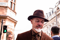 Brown Suit, Brown Hat (Michael Goldrei (microsketch)) Tags: photo street mayfair suit 2016 35mm september brown pedestrian photos man crossing leica london st 240 photography hat 16 typ type240 typ240 photographer sept