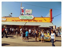 The Flavor of NY (Robert S. Photography) Tags: nathans famous boardwalk crowd sign cart hotdogs coneyisland summer nyc brooklyn color vintage nikon coolpix l340 iso80 september 2016