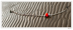 Beach #1 (madmtbmax) Tags: beach scene view rope sand morning light shadows structure abstract kontur red selective color colour art artistic creative photo kunst panorama nikon d700 50mm frames framed bild