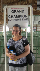 nathalie. porter county fair. july 2015 (timp37) Tags: stuffed animal porter county fair indiana july 2015 summer nat nathalie sign grand champion ewe supreme