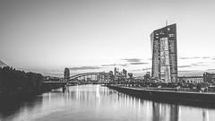 Frankfurt Night in black and white (pure:passion:photography) Tags: frankfurt frankfurtammain main skyline ezb ecb sky sunset sundown sunrise hessen germany deutschland german sw schwarz weis weiss black white bw sdhessen city cityscape architecture hochhaus sonya99 sonyalpha99