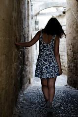 From darkness (KubaFej) Tags: lindos greek girl dark street nikon d7000 nikkor 50 14 ai fotofejs