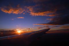 2016_10_03_lhr-ewr_174 (dsearls) Tags: 20161003 lhrewr sunset altittude flying newyork newjersey aerial windowseat windowshot united ual unitedairlines aviation wing airplane boeing boeing767 blue sky orange clouds pink altostratus altocumulus stratus sun