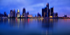 Detroit Night (xplrd) (anj_p) Tags: detroit detroitriver michigan windsor blurred skyline skyscrapers manipulation