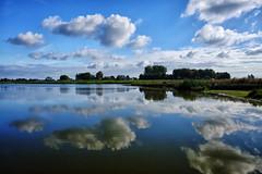 Clouds & water @ Groene Jonker (PaulHoo) Tags: nature reflection groene jonker zevenhoven fujifilm x70 contrast blue sky clouds landscape holland netherlands mirror water waterscape 2016 nik colorefex
