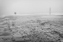 untitled . (helmet13) Tags: d800e raw bw sealbeach california usa people couple beach fog mist silence sand aoi heartaward peaceaward 100faves world100f simplicity