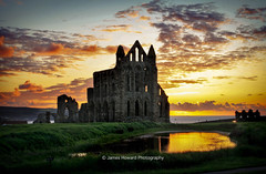 Whitby Abbey Sunset-2 (jameshowardphotography) Tags: whitby water pond clouds abbey sky grass ruins sunset sea sun kite yorkshire northyorkshire north northeast northern