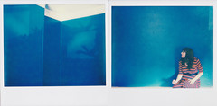 in blue (Lisa Toboz) Tags: impossibleproject instantfilm expiredfilm spectrasystem polaroid selfportrait dormont newhouse blue polaroidweek2016 shadowplay diptych
