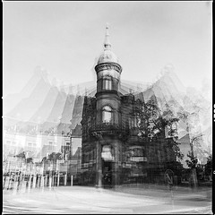 Multi Exposure (Wowo Banderas) Tags: sobreimpresin surimpression pellicule building house haus buyfilmnotmegapixel  film analog analogue 6x6 120 square ilfordhp5plus multi exposure doubleexposure blackandwhite hasselblad500cm 50mm wowobanderas filmisnotdead believeinfilm blackwhite hp5 multiexpo rodinal germany city