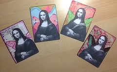 Altered Queen's (juliajae) Tags: alteredart mixedmedia playingcards atc swap exchange fb monalisa