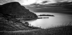 Above Second Valley (*ScottyO*) Tags: secondvalley sa southaustralia australia fleurieu longexposure exposureblending hdr blackandwhite bw monochrome landscape seascape panorama sunset evening dusk golden hour bay coast cove coastal shore jetty pier wharf water sea ocean grass hills land field cliff shrubs sky clouds sun