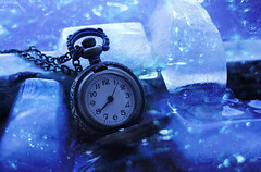 Frozen Time (Valentina White) Tags: life snowflake blue winter white cold clock ice water canon photography eos frozen is still time stock bubbles freeze bubble chilly icy coming conceptual popular chill numb valentina ghiaccio 650d resurgere missv10