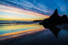 Mirrorsand ~ Explored (intrazome) Tags: ocean light sunset sea england cliff sun color colour reflection beach nature beautiful rock landscape mirror coast sand nikon cornwall day cloudy sigma coastline bedruthan bedruthansteps sigma1770 d5100