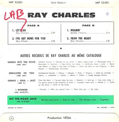 45 RPM - RAY CHARLES - A) Let's Go / I've Got News For You - B) Moanin / From The Heart - (EP IMPULSE FRANCE 1961)_B (MarkAmsterdam) Tags: music big 60s artist folk country band vinyl jazz blues 7 pop 45 retro cover 80s single soul orchestra muziek record 70s 50s trio singel sleeve 45rpm quartet quintet toeren septet nederpop