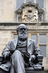 Statue of Charles Darwin, outside Shrewsbury Library, Castle Gates, Shrewsbury, Shropshire, UK (Ministry) Tags: uk school building public statue bronze sandstone shropshire library lion charles darwin shrewsbury unicorn listed horace royalarms mountford castlegates