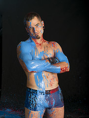 Hot guy in paint (amelia marie 73) Tags: blue light red usa man motion hot color green mi studio photography frozen movement nikon paint body michigan fast martialarts saturation punching kalamazoo burst splash fighting liquid mma d600 ameliafalk ameliasbydesign
