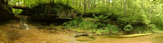 Yellow Springs Panorama (+Lonnie & Lou+) Tags: nature forest ohio yellow springs water falls waterfall stream river trees sky green panorama sony a7r tennant travel rural