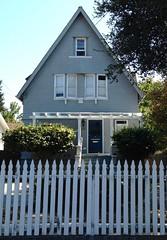 Peaked House #7 (Melinda Stuart) Tags: house berkeley elmwood fence white sun afternoon porch pergola tree