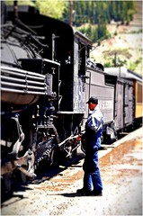 Engineer inspects the old 480 steam train (Ronald (Ron) Douglas Frazier) Tags: colorado steamengine train silverton historic passenger traveling durango