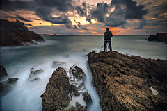 Alexis in action ... (Ludovic Lagadec) Tags: stcoulomb bretagne breizh brittany bretagnenord beach nisi nuage nd64 gnd8 longexposure ludoviclagadec landscape portrait poselongue paysage dream rocks rochers