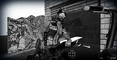 Erik B&W (erikmofanui) Tags: secondlifebiker secondlifeavatar secondlifephotography sexyman bw motorcycle virtual world