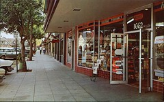 Shops, Street Scene, Solvang, California (SwellMap) Tags: postcard vintage retro pc chrome 50s 60s sixties fifties roadside midcentury populuxe atomicage nostalgia americana advertising coldwar suburbia consumer babyboomer kitsch spaceage design style googie architecture shop shopping mall plaza